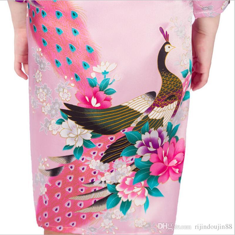 11 ألوان الفتيات الحرير كيمونو الجلباب حفل زفاف العروسة الفتيات الحرير البشكير الطاووس ثوب النوم الصلبة الفتيات robres جودة الساخن
