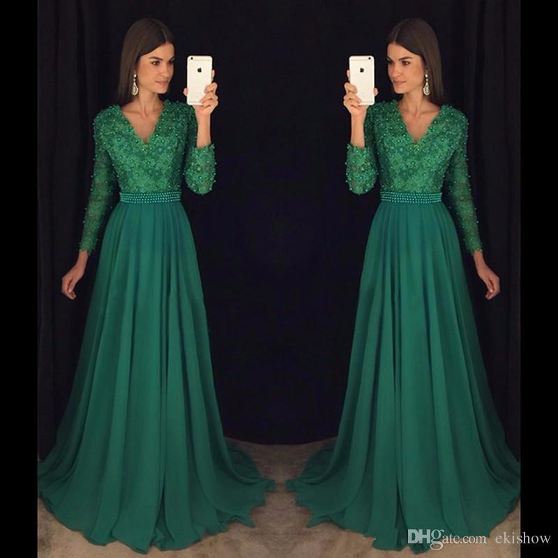 2k17 Spring Chiffon Emerald Green Long Sleeves A Line Prom