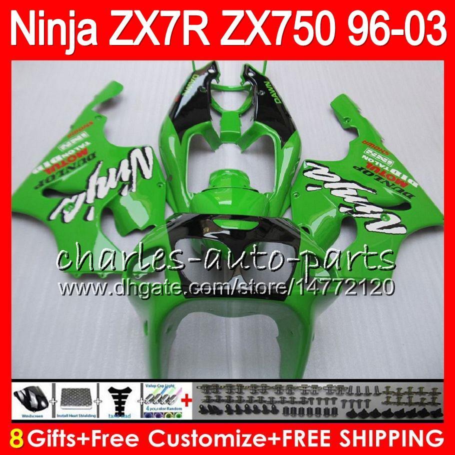 8Regalos es para KAWASAKI NINJA ZX7R 96 97 98 99 00 01 02 03 18HM11 verde negro ZX750 ZX 7R ZX-7R 1996 1997 1998 1999 2000 2003 Carenado