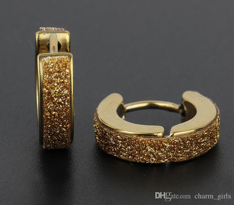 2017 горячий продавать 4 мм из нержавеющей стали матовые серьги стержня для мужчин серьги клип уха титана Серьги Золото серебристый