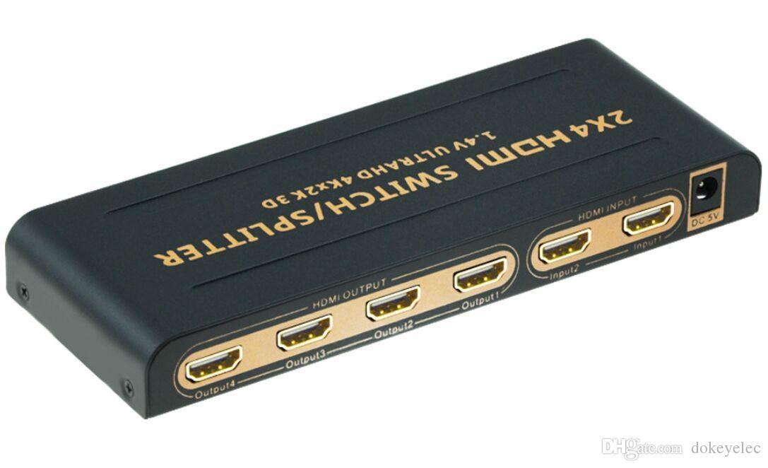 2 in 4 out HDMI switch splitter 4K*2K 2160P 3D 2x4 Matrix HDMI Video Switch Splitter Amplifier 1.4a