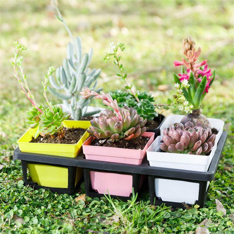 7 couleurs Plant pot À Fleurs mode En Plastique Mini Pot À Fleurs coloré carré pot À La Maison bureau décoration fournitures IA653