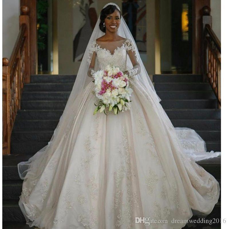 Drop Sleeve Wedding Gowns With: !Princess Wedding Dresses Vestido De Noiva Manga Comprida
