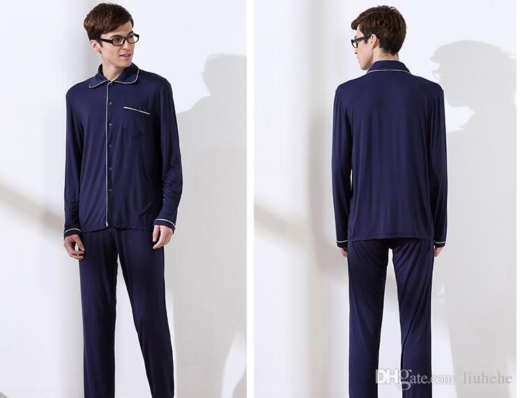 Fabbrica di vendita diretta autunno nuove coppie cardigan maniche lunghe maglieria uomini pigiama di cotone-803 modali