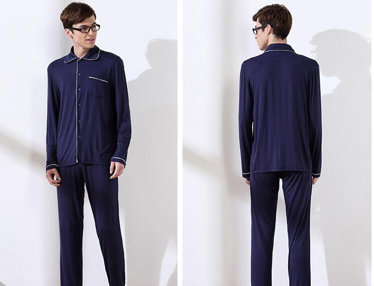Usine automne vente directe nouveaux couples cardigan hommes de manches longues pyjama en coton 803 modales