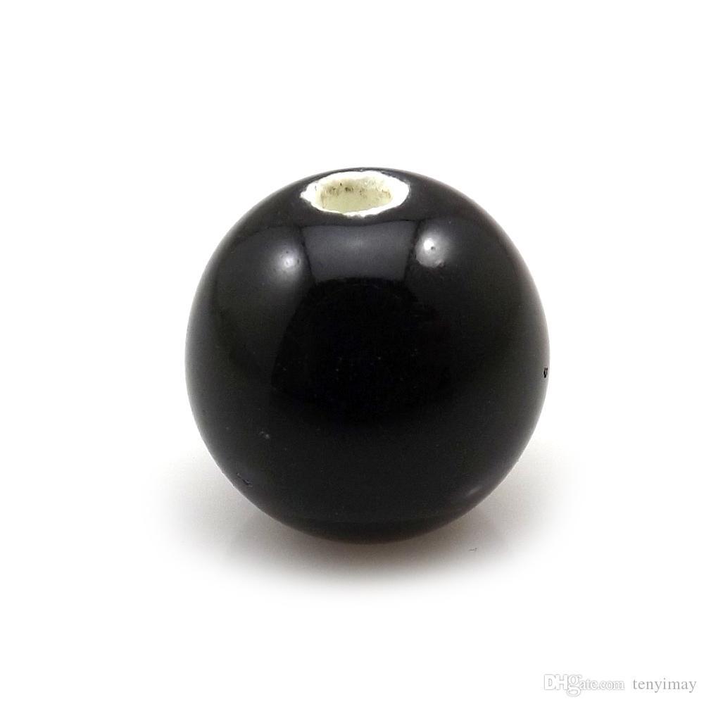 送料無料14 mm黒丸セラミックルーズビーズパックDiyのための陶磁器のアクセサリー