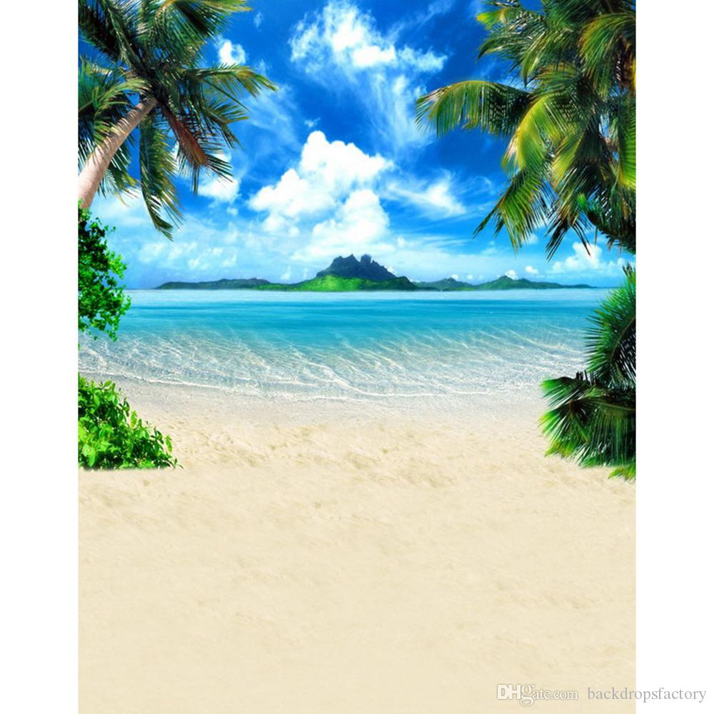 blue sky sea water beach themed backdrop palm trees hills summer