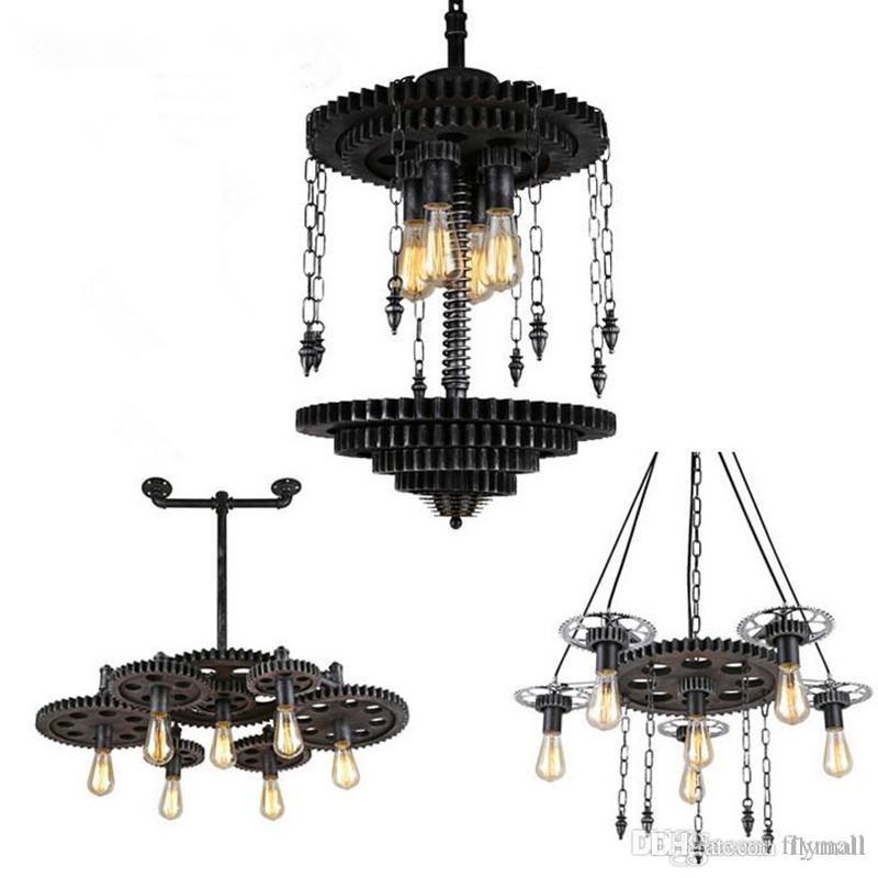 Luxury Vintage Loft Iron Gear Pendant Light Industrial Water Pipe Pendant Lamp Hanging Light Fixtures Suspension Bar Cafe Wrought Iron Pendant Lamp Drum Pendant For Your Plan - Inspirational small lantern pendant light Contemporary