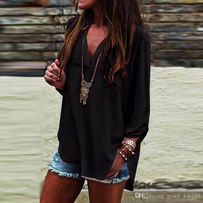 Nuevo Llegó Más el tamaño de blusas camisa 5XL-S Otoño Moda mujer Blusa de manga larga Camisas Con cuello en v Flojo Moda gasa camisa blusa
