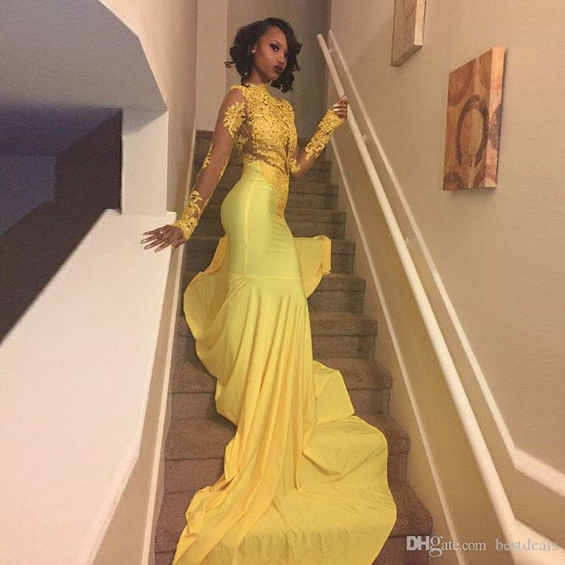 ebaf8ae6 Sexy African Black Girls Yellow Mermaid Prom Dresses 2017 Court Train  Appliques Lace Long Sleeve Prom Dress Evening Party Gowns Short Lace Prom  Dresses ...