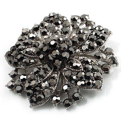 2 Дюйма Большой Родий Посеребренные Черный Горный Хрусталь Кристалл Diamante Винтажном Стиле Морская Звезда Брошь Булавки