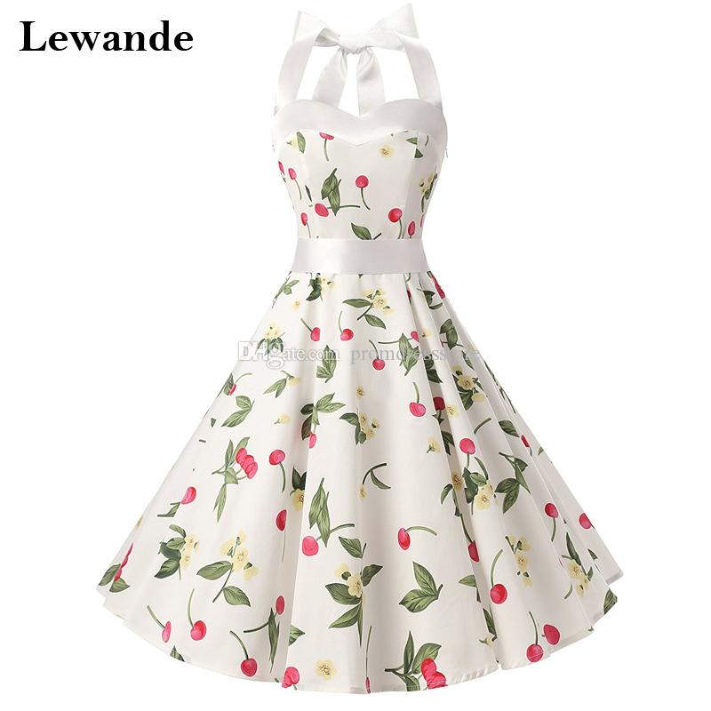 dd6eac51fe4b0 Girl Vintage Style Halter Floral Print Prom Homecoming Dresses White ...