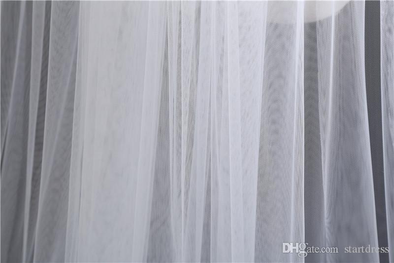 2017 Yeni Varış Beyaz Fildişi 3 M Gelin Veils Toptan Katedrali Uzun Düğün Aksesuarları Iki Katmanlı Kesim Ege Basit Desin D ...