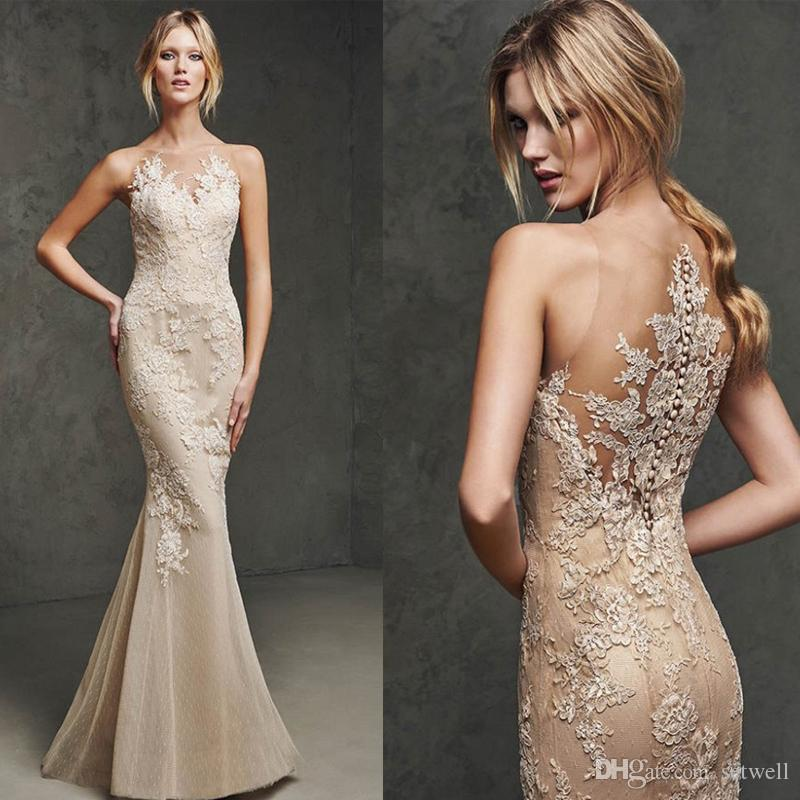 Setwell Elegant O-neck Applique Mermaid Evening Dress Sleeveless Backless Sweep Train Lace Prom Gown Formal Wear