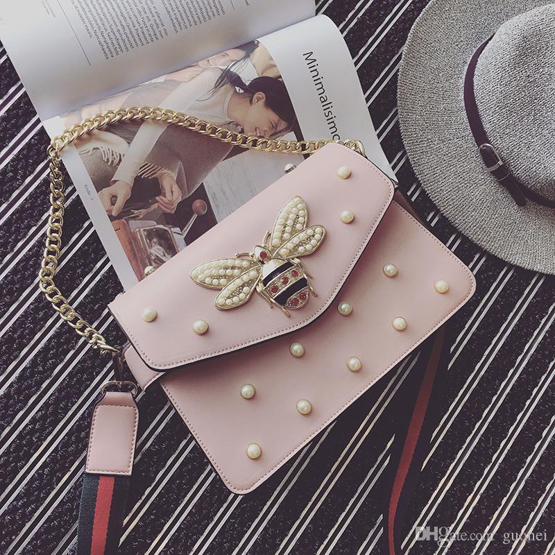 Projeto da marca bolsa linda cadeia de strass saco elegante mulher abelha pérola bolsa de ombro de couro decorativo mulheres saco pequeno fresco primavera pérola