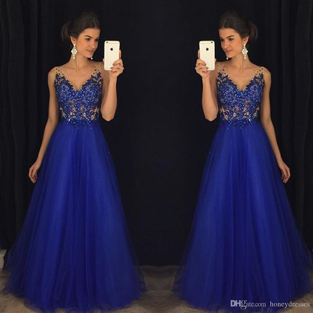 Azul Royal Sexy 2017 Vestidos de Baile de Tule V Pescoço 2017 Formal Longos Vestidos de Noite Até O Chão De Cristal Frisado Formal Vestidos de Festa Vestidos