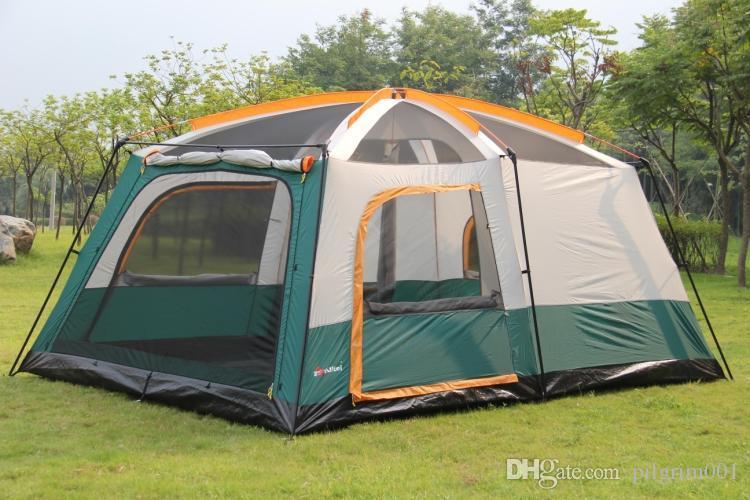 Ultralarge çadır barınak tabernacle köşkü bir salon iki yatak odası çift katmanlı 6-12 kişi kullanımı açık parti aile kamp çadırları