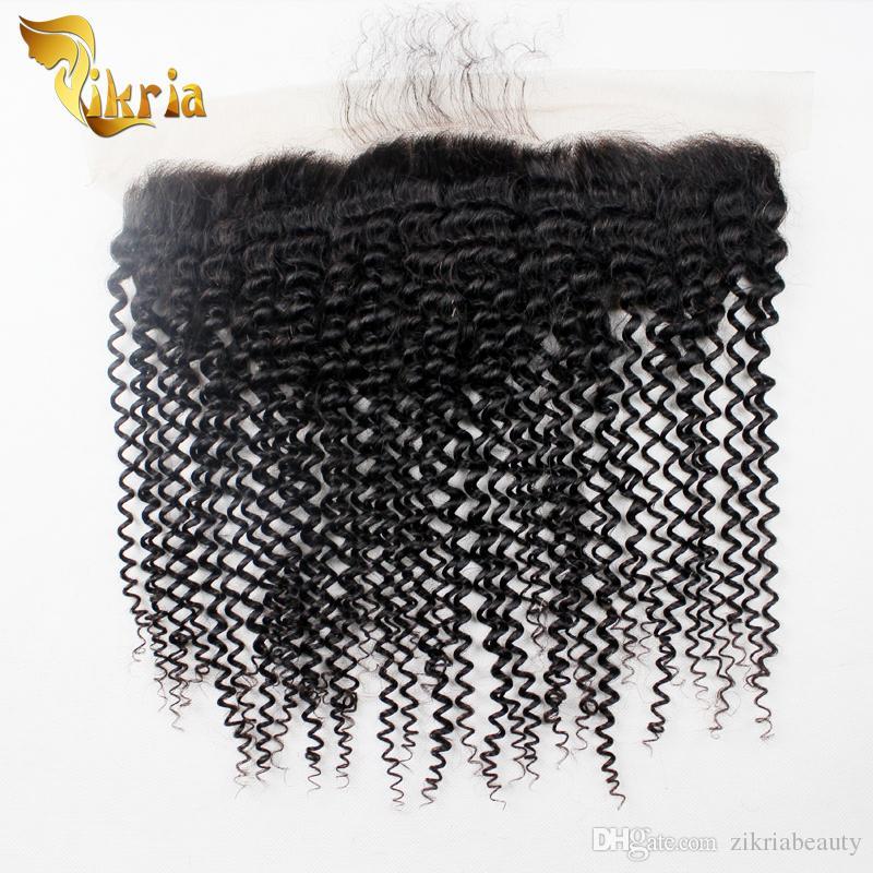 Pelo humano de la Virgen peruana Kinky Wave 13x4 Cierre frontal de encaje con cabello de bebé Productos de cabello brasileño indio malasio Mejor calidad