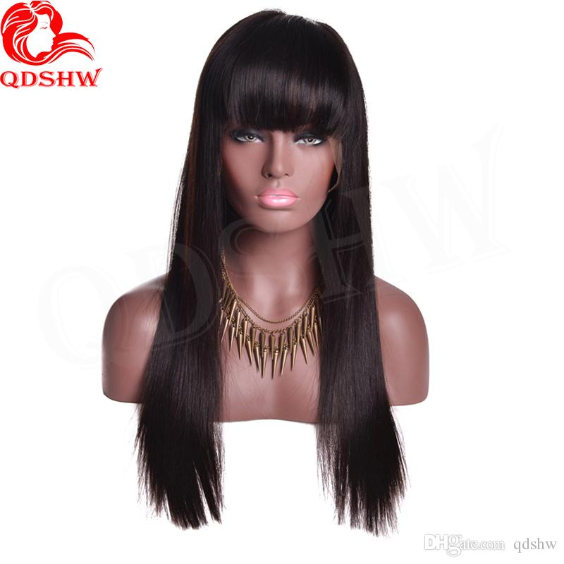 Brazilian Lace Front Wig With Bangs Human Hair Long Straight Virgin Brazilian Hair Full Lace Wigs With Bangs For Black Women