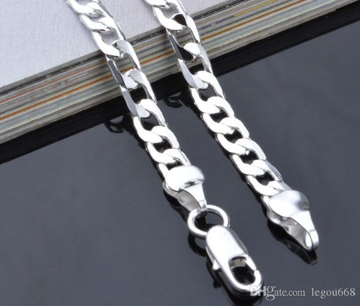 925 gioielli in argento placcato collana in argento placcato gioielli moda pendente 4mm collana-16-18-20-22-24 pollici G214