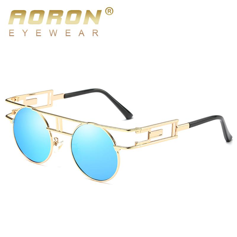 5f85e89145b24 Compre Aoron Marca Design Exclusivo Óculos Polarizados Homens Óculos  Redondos Gótico Óculos Mulheres Steampunk Eyewear Retro Gafas De Sol De ...