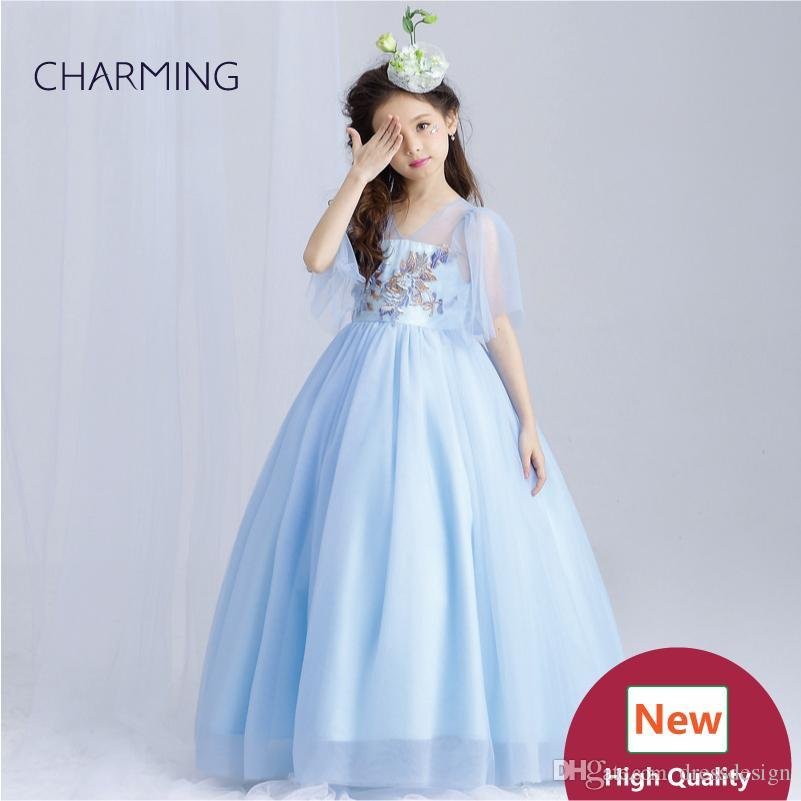 Light blue prom prom Girls pageant dress High quality designer dresses real photo China wedding dress beach wedding dresses