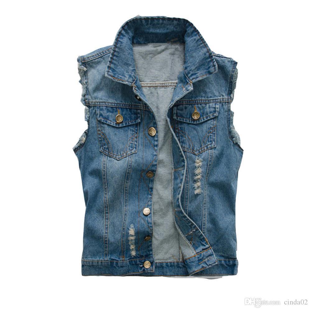 Korean Men's Jeans Vest Ripped Denim Jacket Slim Fit Sleeveless 2018 Summer New Style Jeans Male Coat 6XL