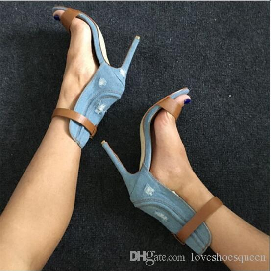 2017 Women 's Summer Sandals Patch Shoes Cowboy Hole Shoes Fashion Thin High-heeled Casual Sandal Sandalia Feminina