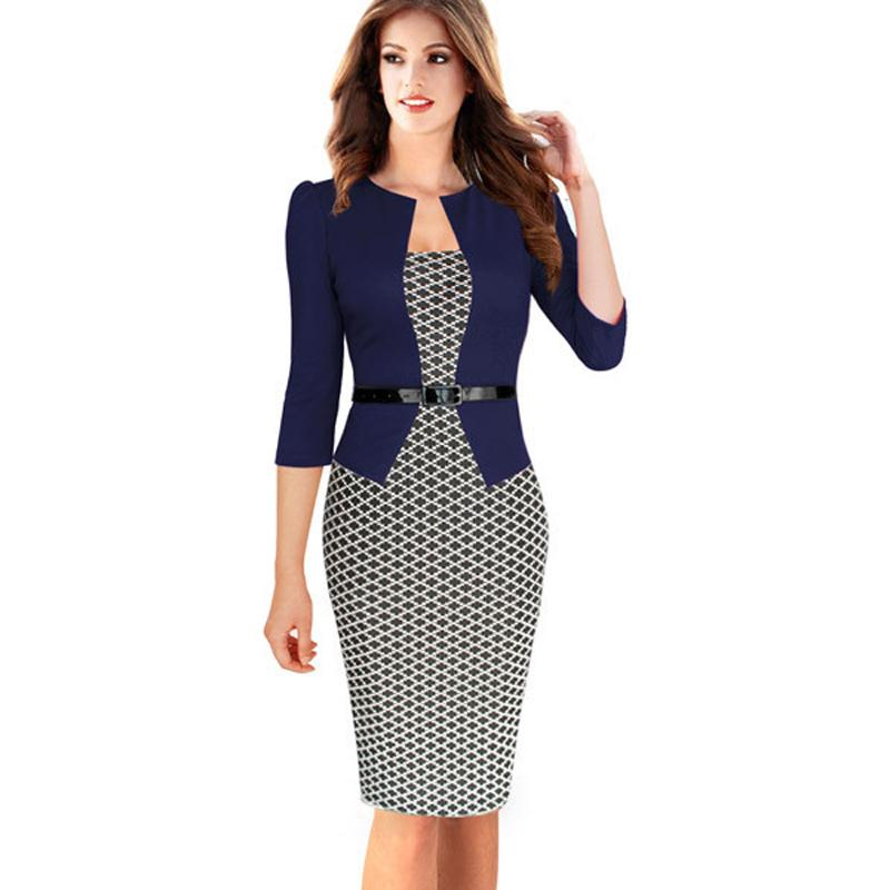 Womens Autumn Elegant Plaid Formal Business Dresses Office Pencil
