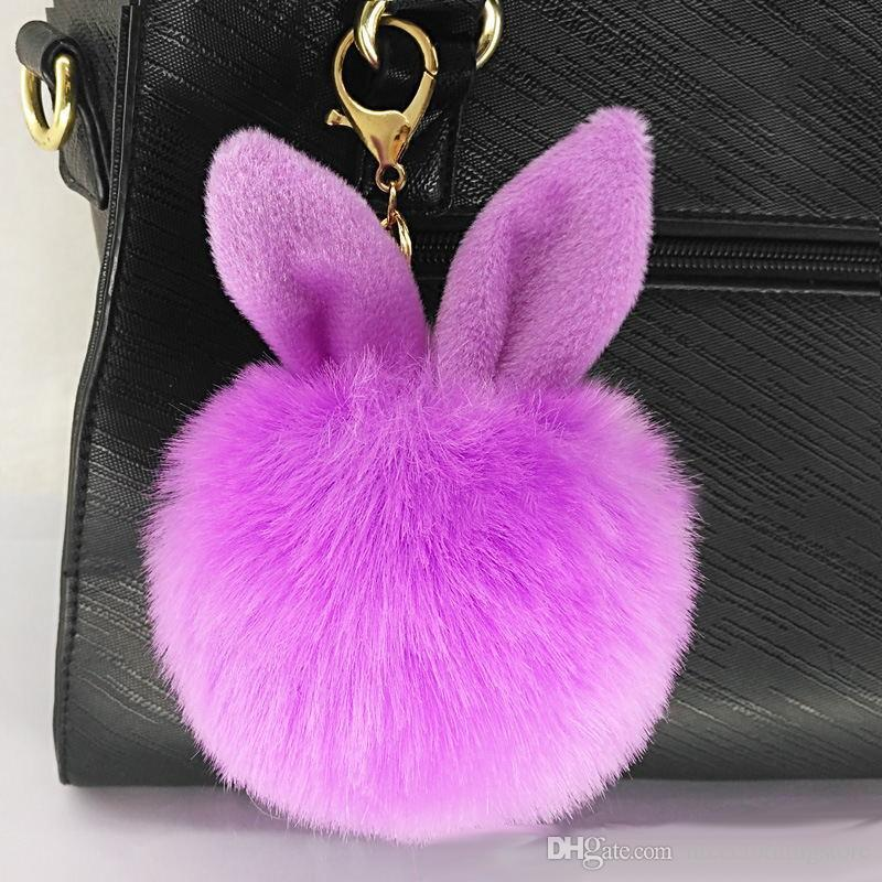 DHL New Design Doll Genuine Rabbit Ear Shape Fur ball Plush Key Chains Car Keychain Bag Pendant Fashion Accessories