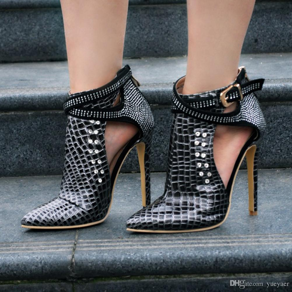 Zandina Womens Fashion Handmade 110mm Fibbia A Punta Cinturino In Metallo Gioielli Deco Tacco Alto Scarpe A Spillo XD151
