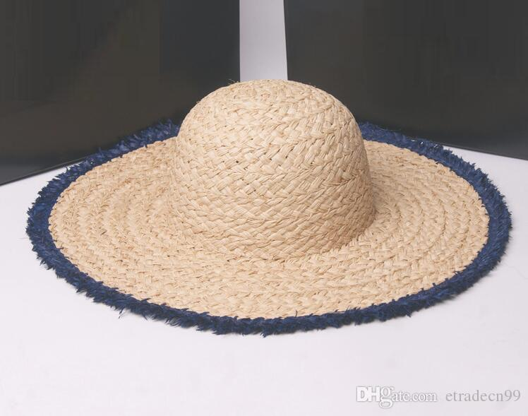 2f67912d Ladies Nature Wide Brim Raffia Straw Hats Frayed Colored Frayed Fringe  Plain Large Beach Summer Sun Caps Big Straw Cap Wholesale Summer Hat Straw  Cowboy ...