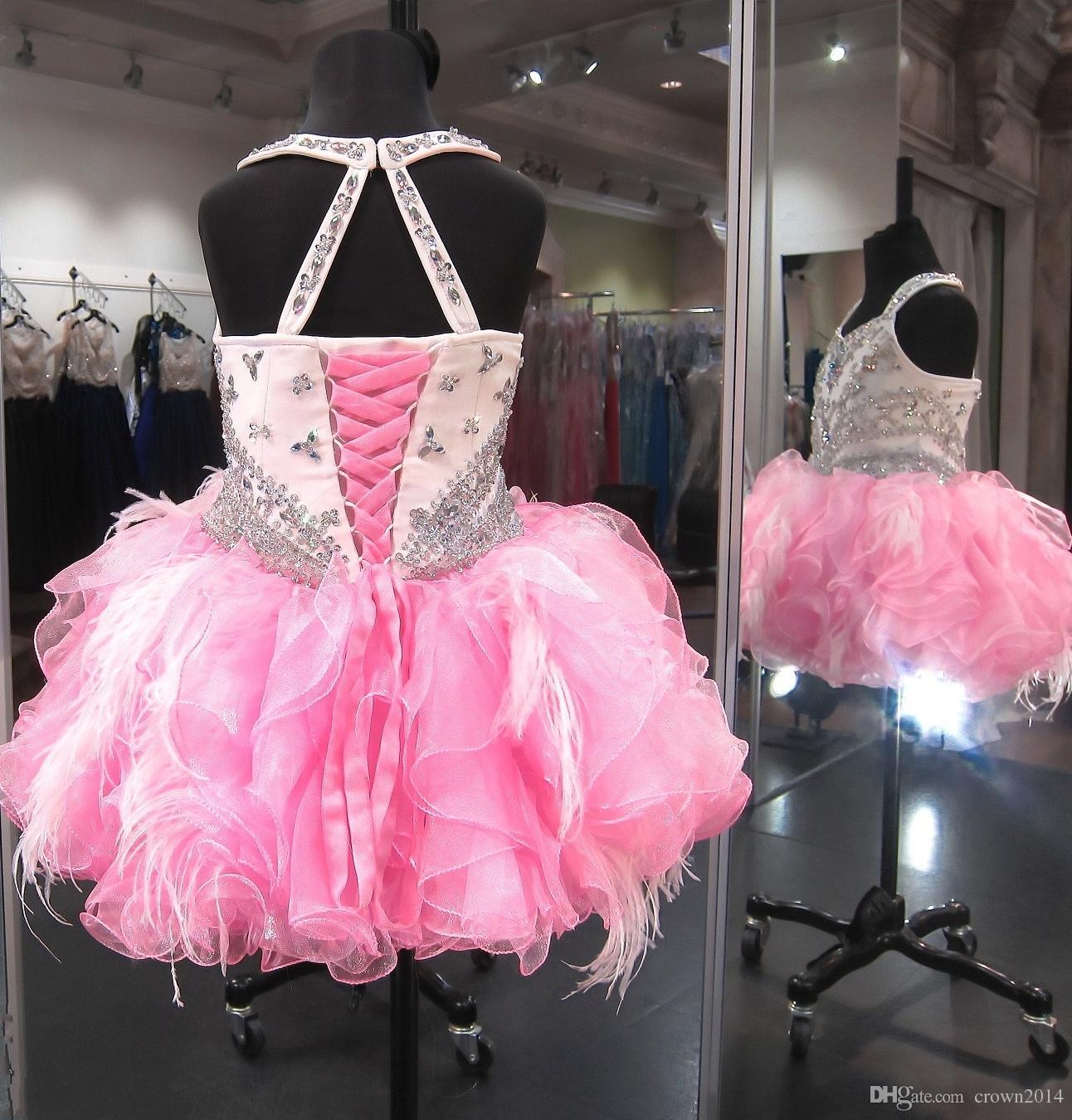 Kristal Boncuklu Glitz Cupcake Pageant Elbise Kabarık Organze Ruffled Tüy Pembe Fildişi Balo Toddler Küçük Kızlar Doğum Günü Partisi Elbise