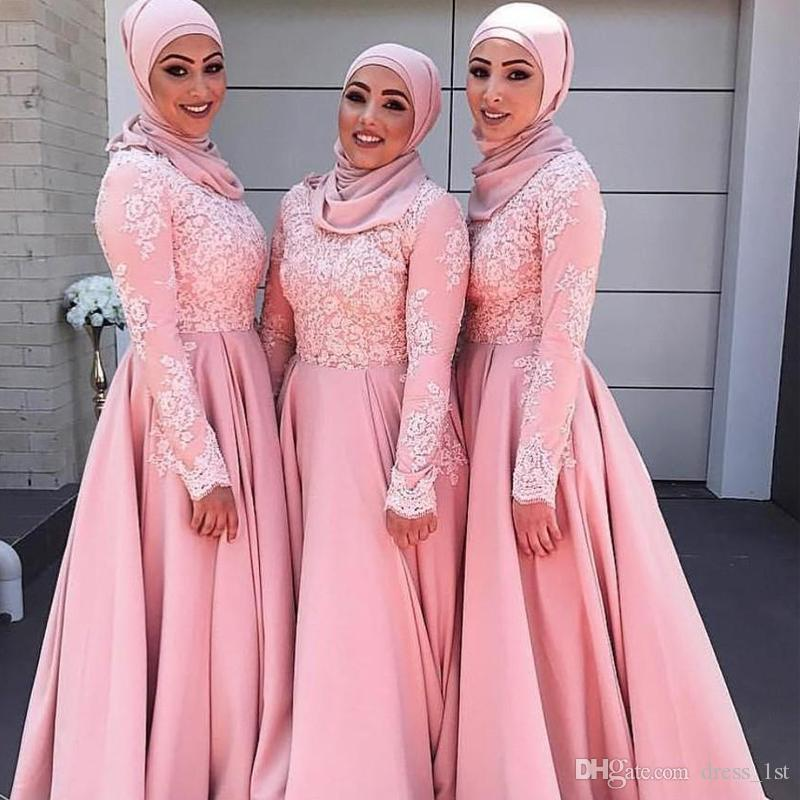 84f1fba073 Modest Long Sleeve Muslim Bridesmaid Dresses High Neck A Line Pink Lace And  Satin Arabric Wedding Guest Dresses Custom Made Size And Color Wedding ...