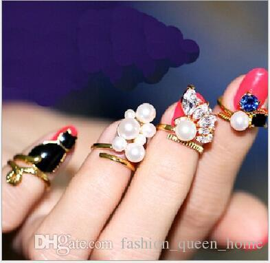 60set Knuckle rings 4pcs/set Rhinestone Cute Bowknot Finger Nail Ring Charm Crown Flower Crystal Female Personality Nail Art Rings F391