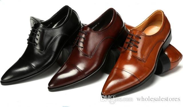 new concept e5e26 ca687 Mode schwarz / braun Bräune / braun Derby Schuhe Herren Hochzeit Schuhe aus  echtem Leder Business-Schuhe