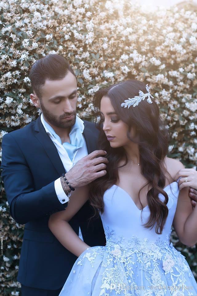 Ciel bleu arabe Dubai Robes de bal à col en V Robes pour occasions spéciales A-Line Cap Sleeve Lace Appliques Robes longues