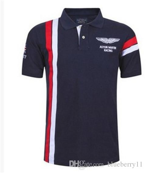 Summer Hot In Spain Fashion Sport Shirt Men ASTON MARTIN RACING 100% Cotton s Shirts Red White