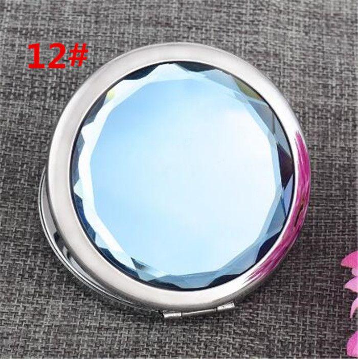 12 ألوان مستحضرات التجميل المرايا المدمجة كريستال مكبرة متعدد الألوان المكياج أدوات ماكياج مرآة الزفاف الإحسان هدية X038