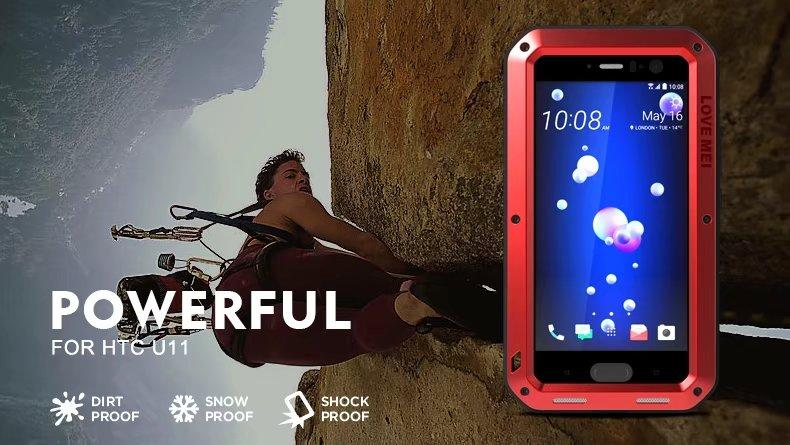 buy popular 4960a 9b384 Lovemei Brand Life Waterproof case For HTC U11 metal cover armor shockproof  Full protective case with Tempered glass