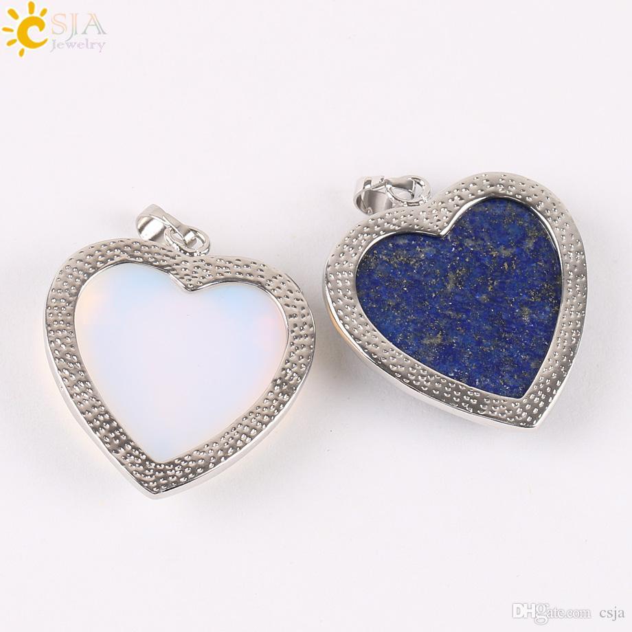 CSJA Naturel Lapis Lazuli Améthyste Vert Aventurine Rose Quartz Opale Pierre Perle Amour Coeur Collier Pendentif Bijoux Charmes pour Femmes E074 A