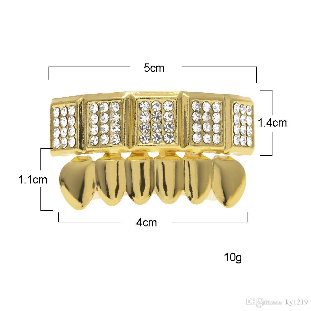 Mens Hip Hop Jewlery Teeth Grillz For Boy Brand Designer Hiphop Gold Grillz Teeth Gold Plated Wholesale