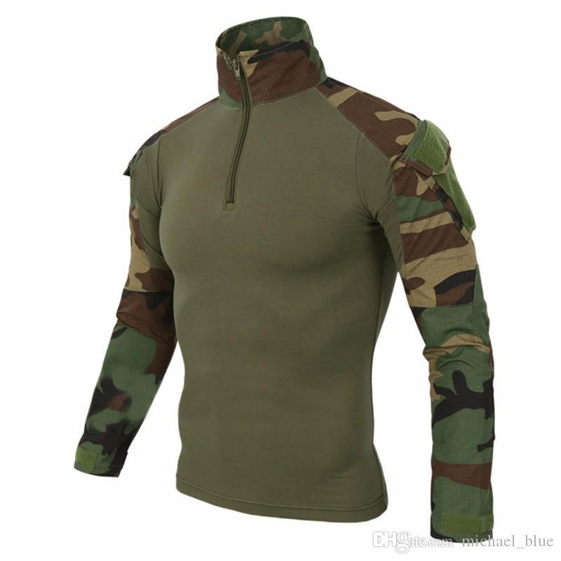 Airsoft Camouflage Combat Shirt Light Weight Rapid Assault Long Sleeve Frog  Shirt With Removable Elbow Pads Tactical Shirt UK 2019 From Michael blue 0c6cf42e860