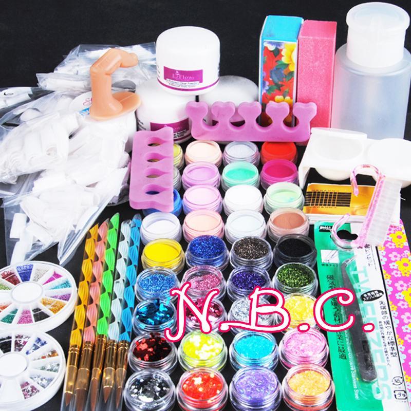 Wholesale- Acryilc Powder Dust Nail Art Kit French Tips Glitter File ...