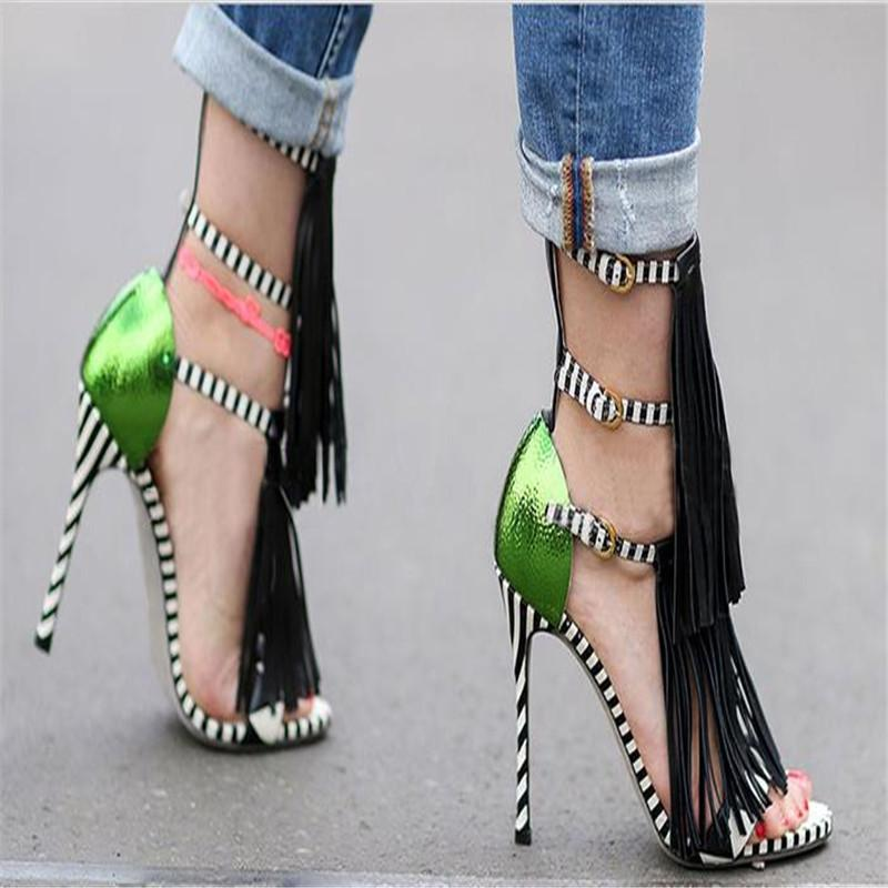 6996919264a4 Wholesale Brand New High Heels Fringe Summer Sandals Sexy Open Toe Plus  Size Gladiator Runway Party Shoes Women Pumps Zapatos Mujer 749 Heels  Gladiator ...