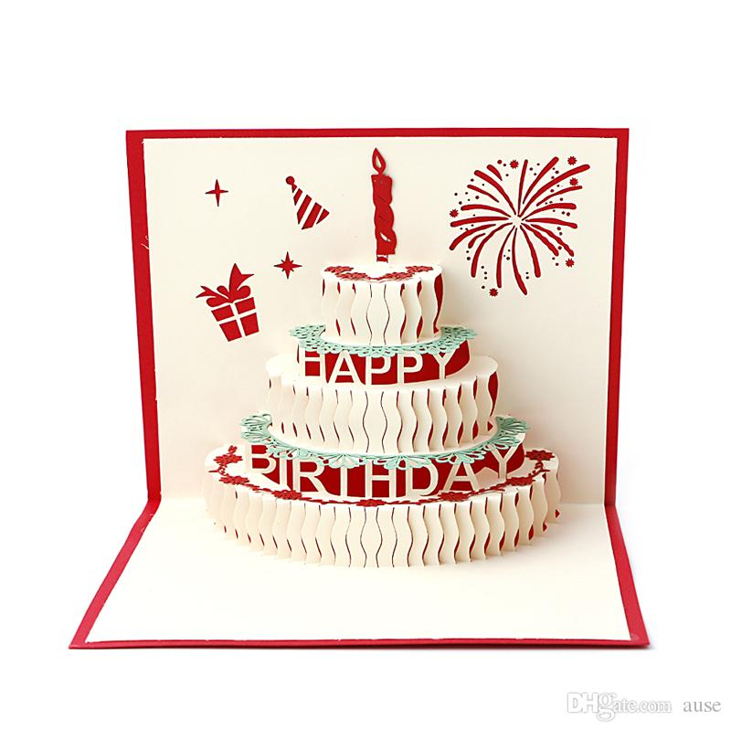 3D Stereoscopic Greeting Card Handmade Gift Decoupage Birthday Cake Postcard Y102 Cards Christmas Postcards Online With 24 Piece On