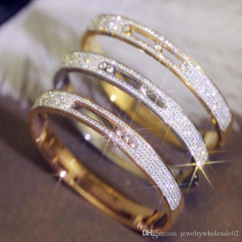 6a65ead51 Fashion diamond bracelet women's titanium steel gold-plated rose gold  zircon bracelet titanium steel jewelry manufacturers wholesale