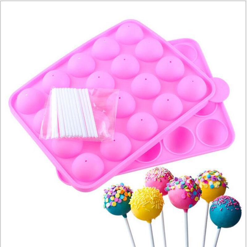 실리콘 케이크 분홍색 케이크 스틱 금형 컵 케이크 베이킹 금형 파티 주방 도구 22.5 * 4 * 18cm