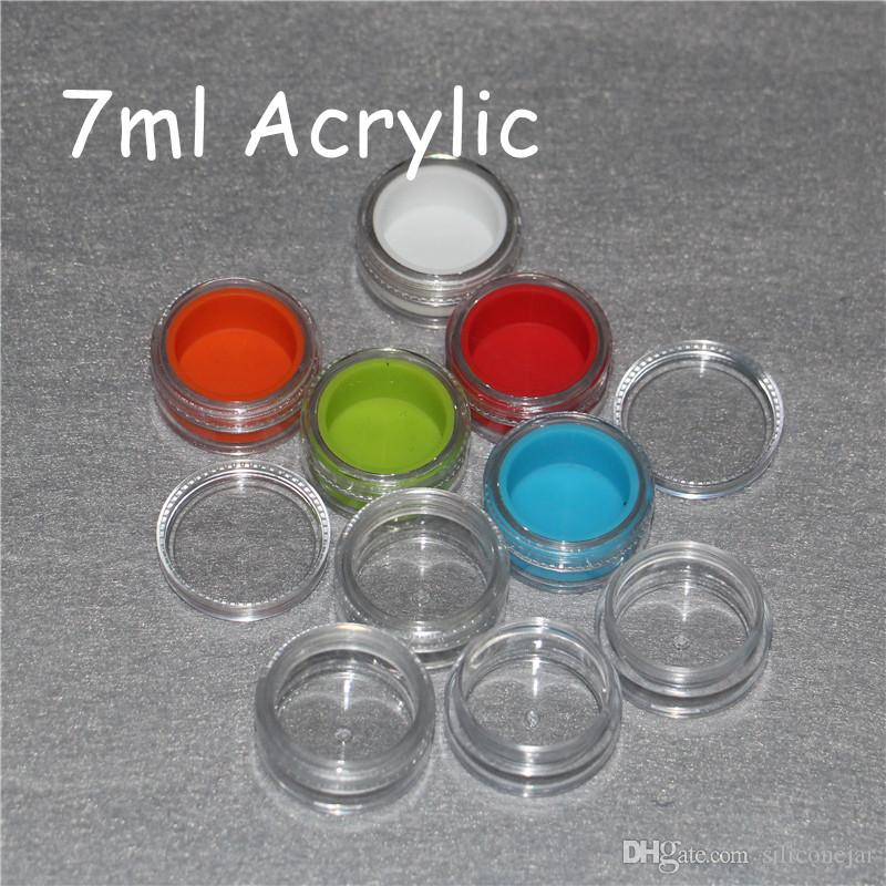 Acrylic silicon container 5ml 7ml 10ml wax concentrate silicone containers ABS non-stick dab bho oil jars tool storage jar holder vap