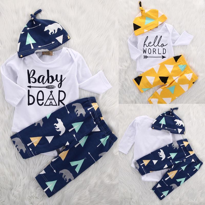 85fd676bc Wholesale- Newborn Girl Boy Baby Clothes Set Bear Cotton Romper ...